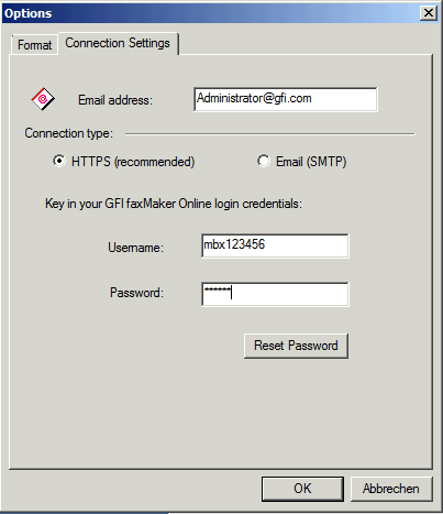 Connection settings of GFI FaxMaker Online client