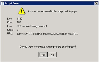 Error: 'An error has occurred in the script on this page